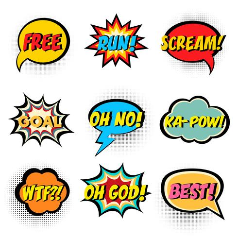 Comic book words. Comic speech bubble set