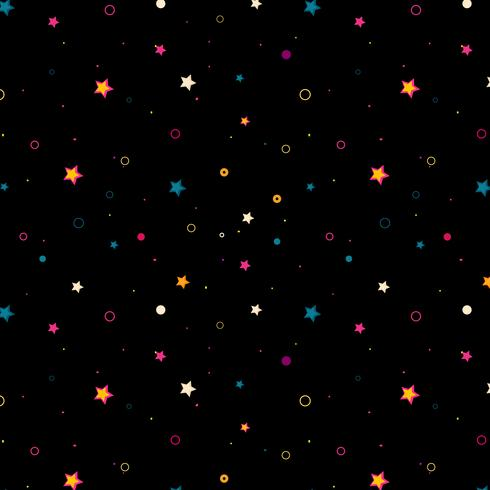 Estrellas de colores en el patrón de fondo negro
