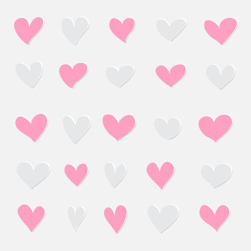 Pink and grey hearts set. Valentine's day hand draw hearts, love