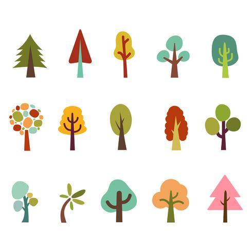 Conjunto de iconos de árboles abstractos