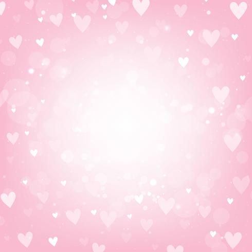 Fond rose Saint Valentin avec des lumières de coeurs et bokeh
