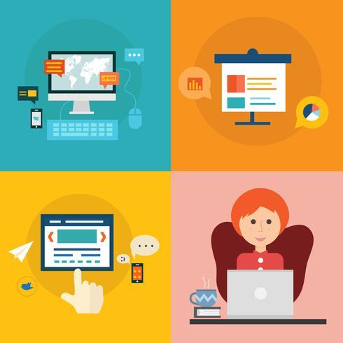 Conjunto de iconos de concepto de diseño plano para educación y formación