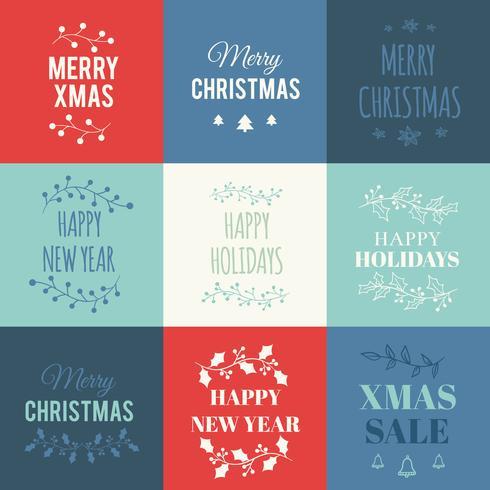 Conjunto de tarjetas de Navidad con tipografía.
