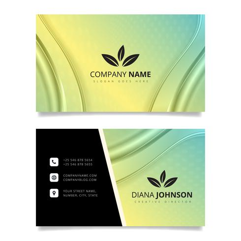 Green and yellow business card with waves