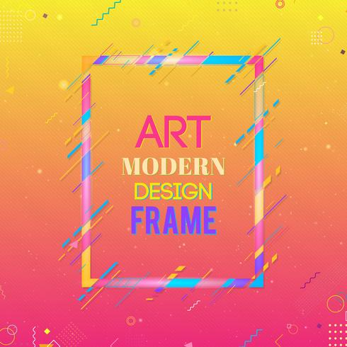 Vector frame for text Modern Art graphics. Dynamic frame with stylish  colorful abstract geometric shapes around it on a gradient background. Trendy neon color lines in a modern design style.