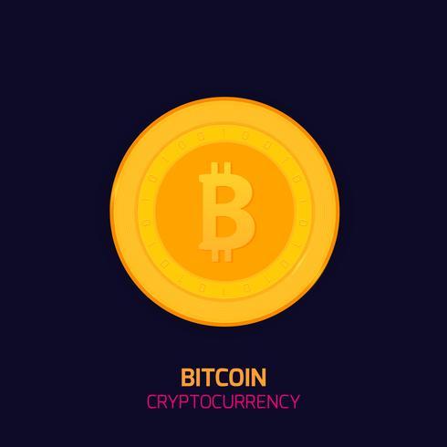 Concetto di Bitcoin. Logo Criptovaluta sospiro. Moneta digitale Blocca la catena, simbolo della finanza. Illustrazione vettoriale stile piano