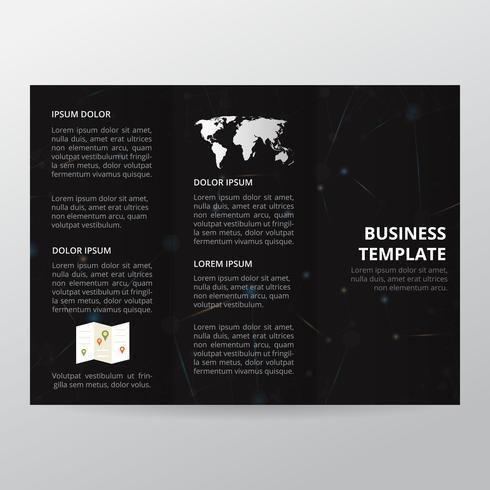 Folleto tríptico de la tecnología negra. Plantilla de folleto de negocios, folleto de tendencia.