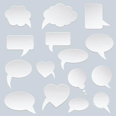 Conjunto de burbujas de vector de discurso blanco. Bocadillo de papel. Nubes blancas de la burbuja del discurso de la comunicación del vector