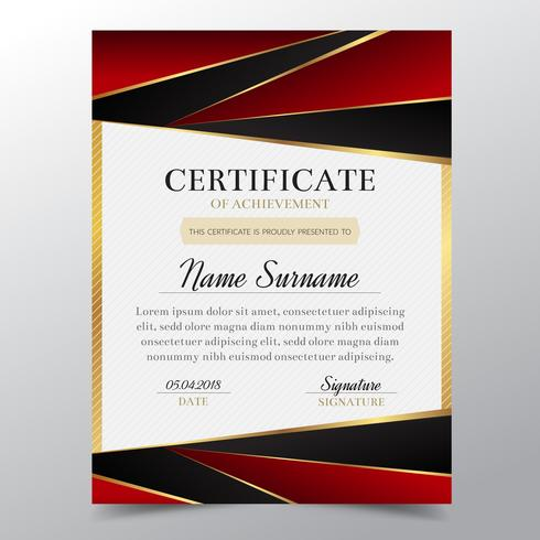 Certifique la plantilla con un diseño elegante de oro y rojo de lujo, graduación del diseño del diploma, premio, éxito. Ilustración del vector. vector
