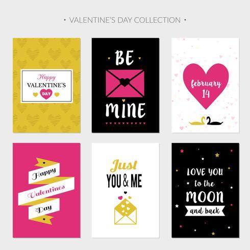 Cartões planos do dia dos namorados