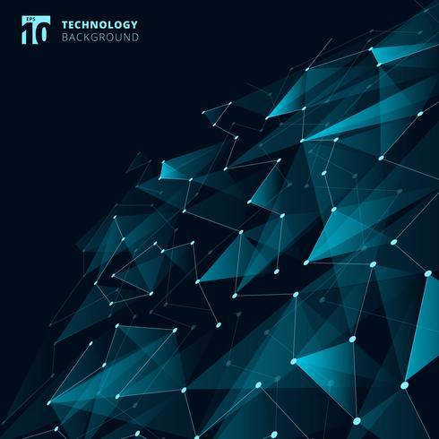 Tecnología abstracta Triángulos de color azul y polígono bajo con líneas que conectan puntos estructura de perspectiva sobre fondo oscuro. vector