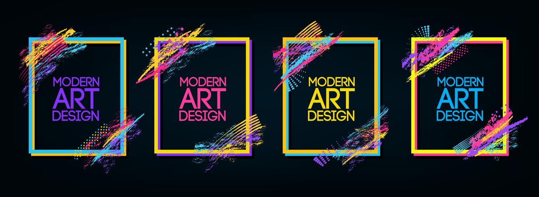 Vector de marco para el texto de gráficos de arte moderno para los hipsters. Fondo negro geométrico elegante del marco dinámico. Elemento para el diseño de tarjetas de visita, invitaciones, tarjetas de regalo, volantes y folletos.