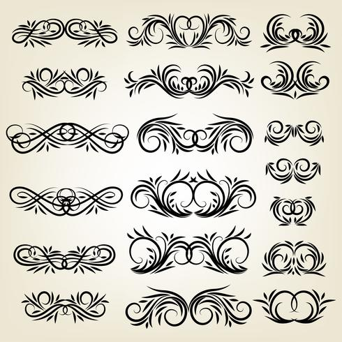 Vintage kalligrafiska virvla runt prydnadssatser