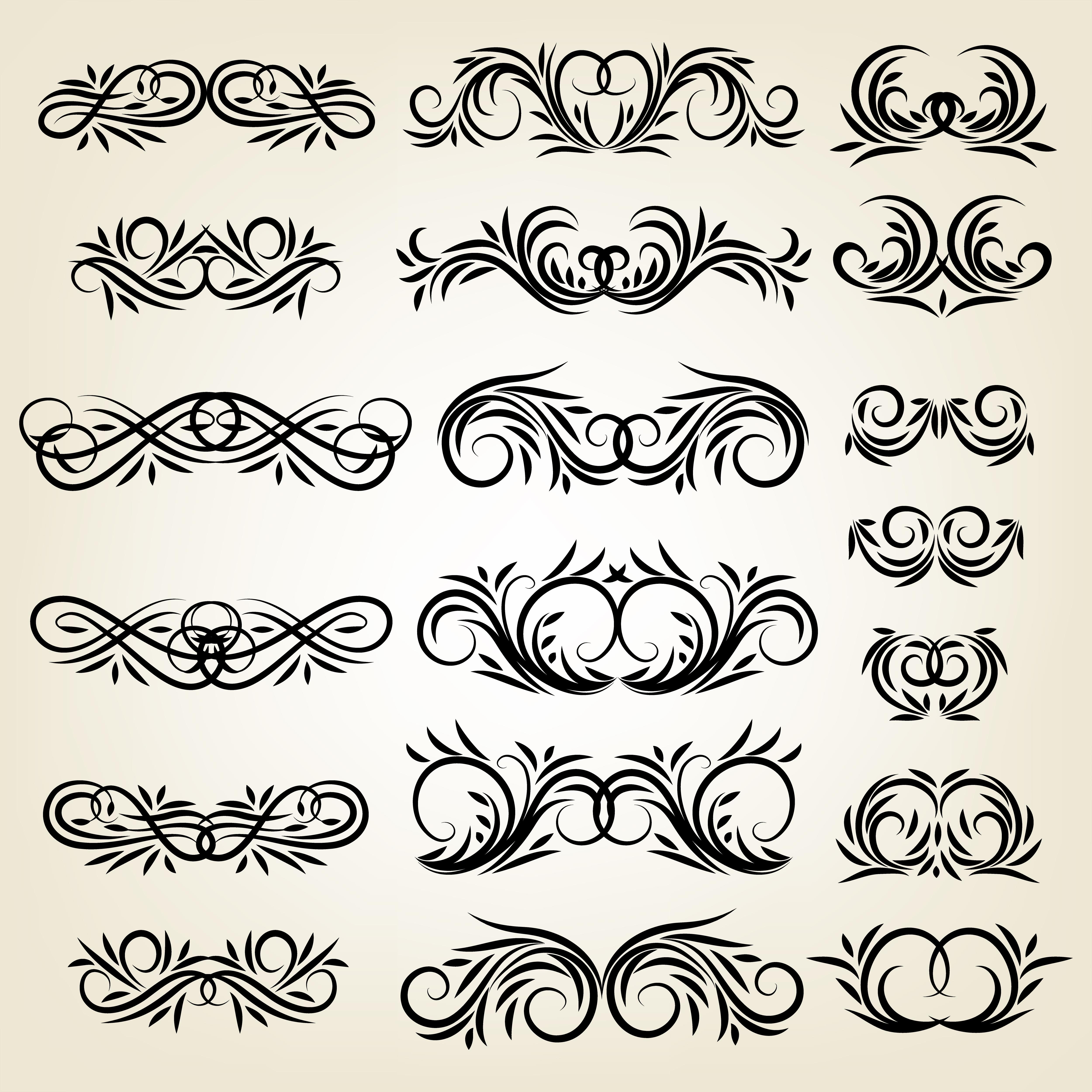 Vintage calligraphic swirl ornaments set - Download Free ...