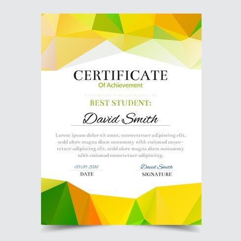 Plantilla de certificado con diseño elegante geométrico verde, graduación de diseño de Diploma, premio, éxito.