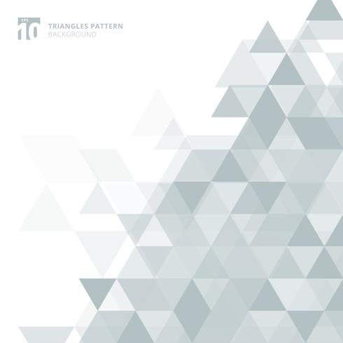 Triángulos grises abstractos geométricos en el fondo blanco.