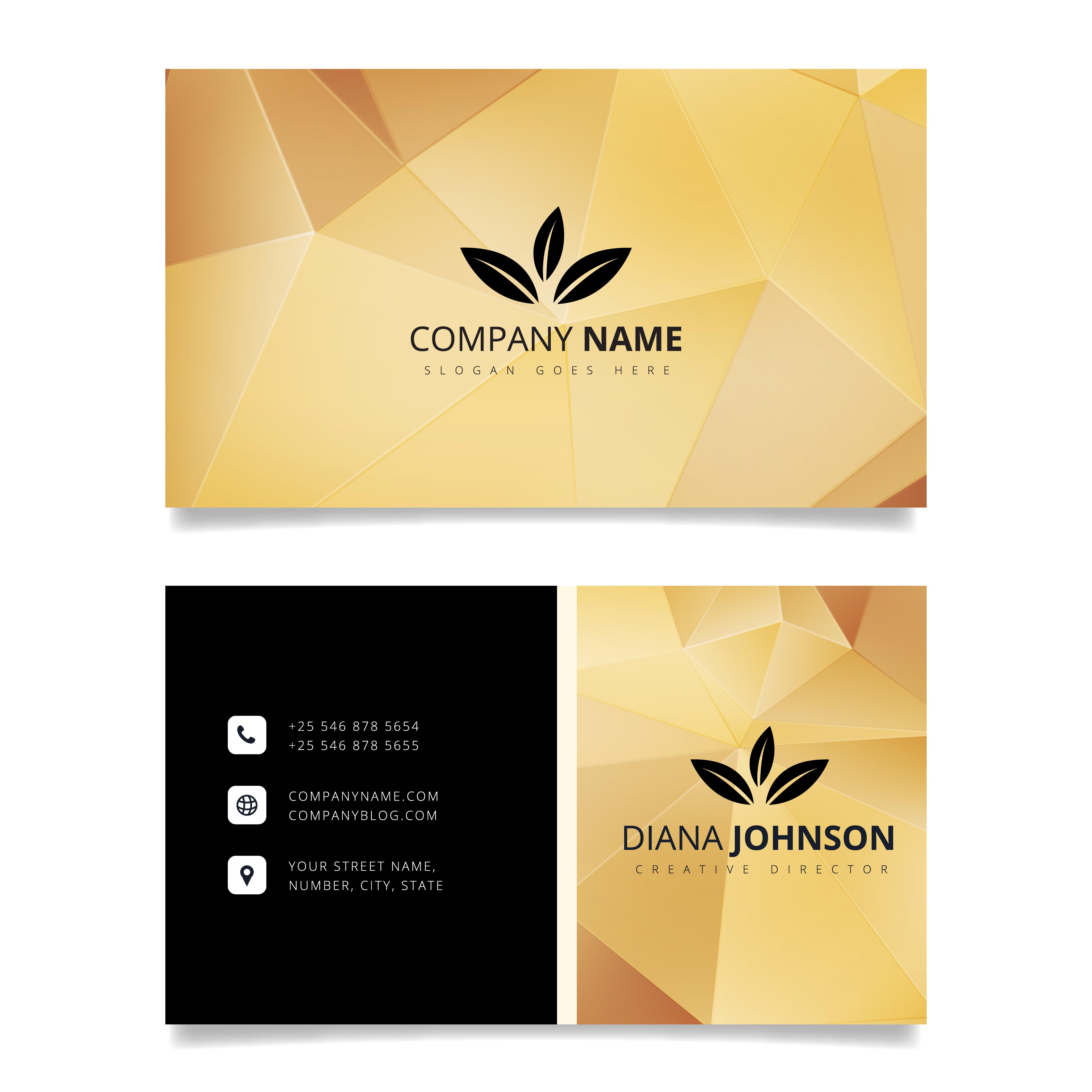 gold geometric business card modern simple business card