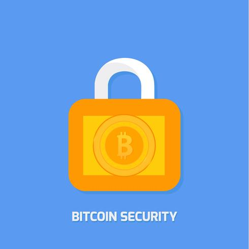 Locked bitcoin coin. Bitcoin security vector design concept. cryptocurrency vector illustration. Bitcoin security, safety, saving, protection concept. Bit coin cryptocurrency, blockchain.