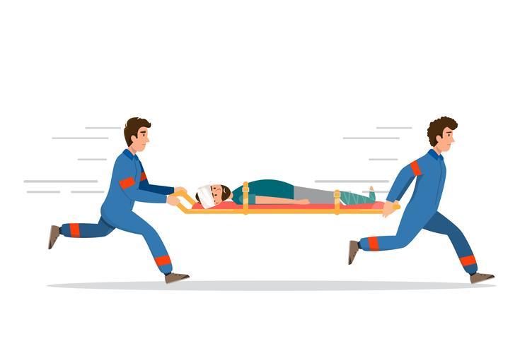 Servicio médico de urgencias de ambulancia. el personal lleva paciente en camilla