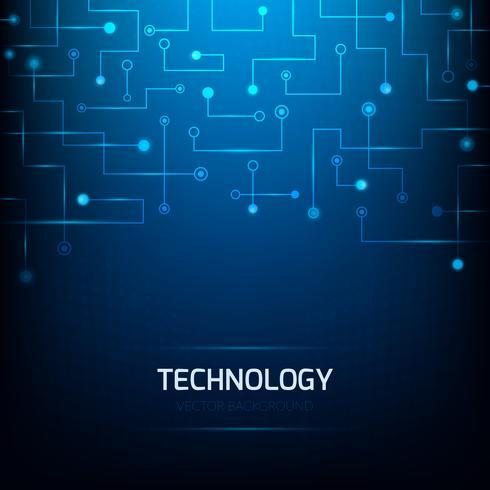 Blauer Technologiehintergrund. Abstrakter Technologie-Leiterplattehintergrund