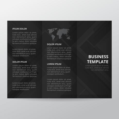 Black abstract business trifold broschyr