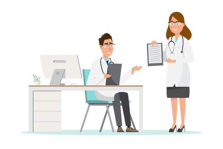 Conjunto de personagens de desenhos animados de médico e enfermeiro. Conceito de equipe de equipe médica no hospital.