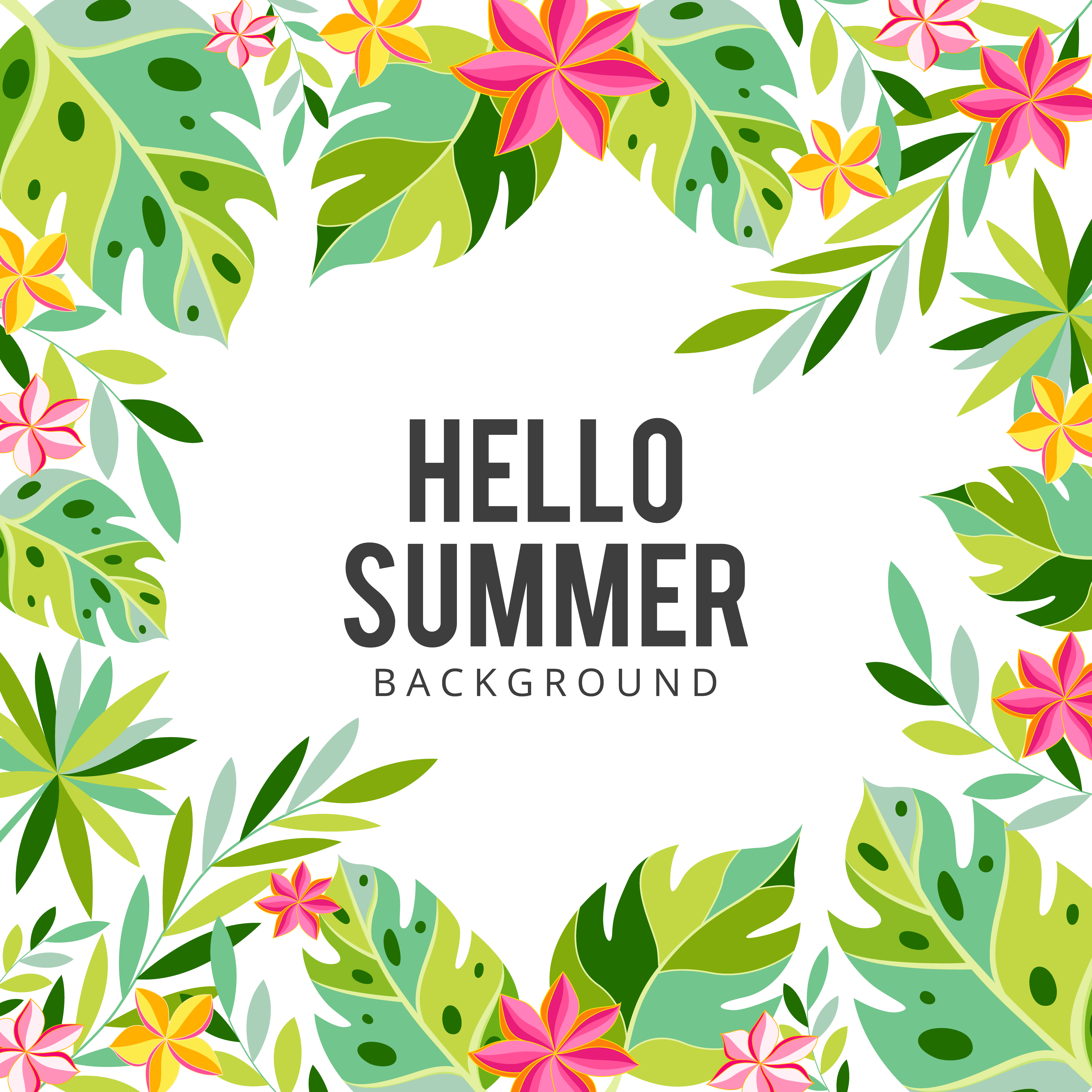 Tropical Flowers And Palms Summer Background. Exotic
