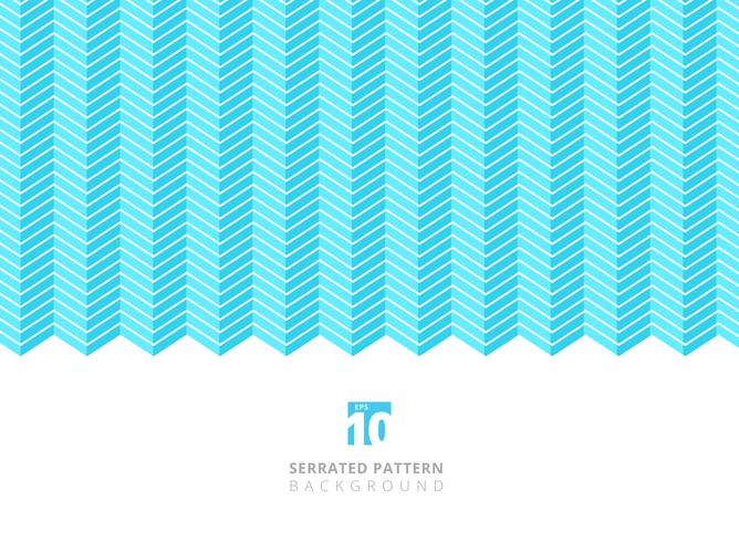 Color abstracto blanco líneas serradas patrón sobre fondo azul con espacio de copia. vector