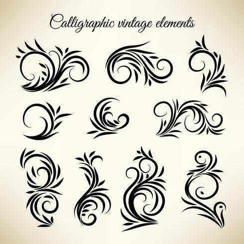Conjunto de adornos de remolino caligráfico vintage vector