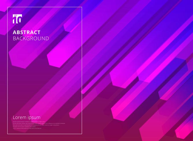 Abstract Colorful Hexagon dynamic shape composition purple background.