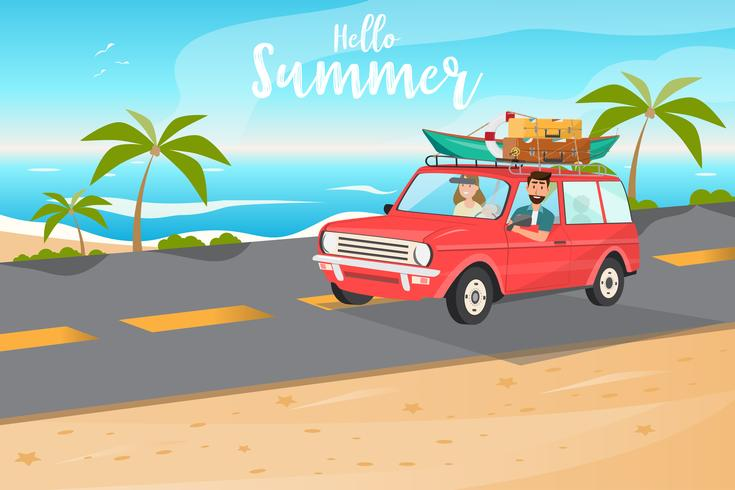 Happy family. Father, mother and children going to travel by car in summer time  vector