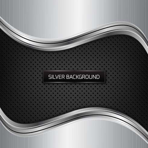 Fondo plateado metalizado. Fondo metálico plateado sobre textura de fibra negra. vector