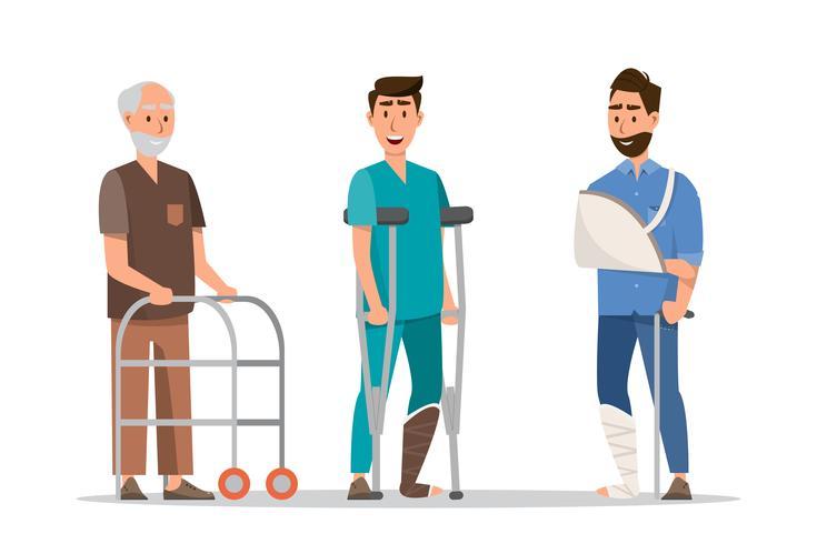 Conjunto de personas enfermas que se sienten mal, brazo roto y pierna fracturada.