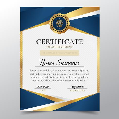 Plantilla de certificado con diseño elegante de oro y azul de lujo, graduación de diseño de diploma, premio, éxito. Ilustración de vector.