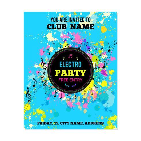 Cartel fiesta con salpicaduras de tinta y notas musicales.