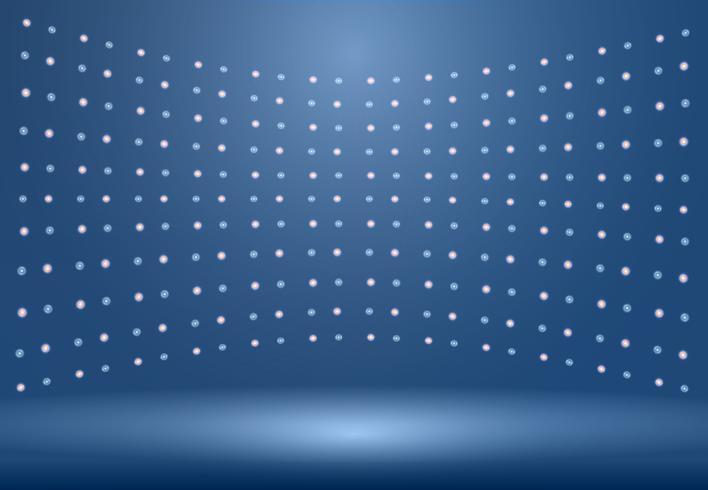 Fondo de habitación de estudio azul de lujo con focos y uso como fondo de negocios vector