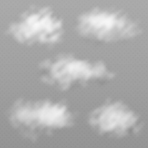 Set di nuvole diverse realistiche e trasparenti. Illustrazione vettoriale