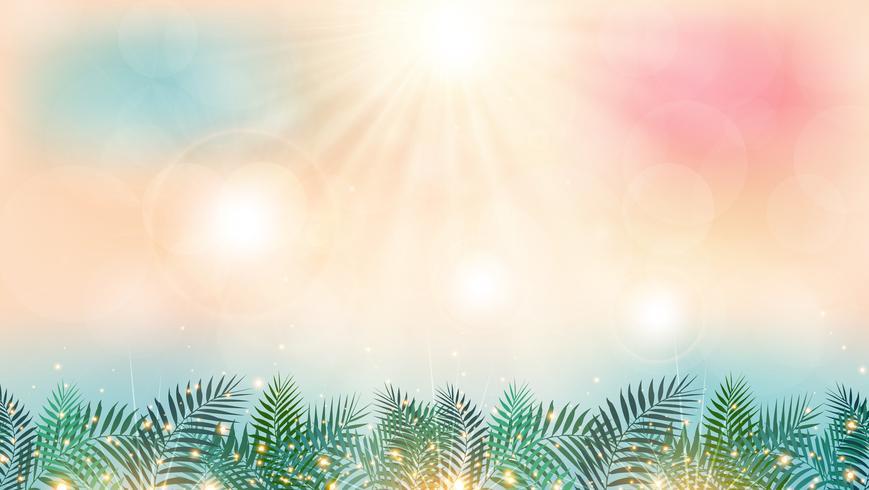 Zomertijd op het strand met zonneschijndag en groene palmbladen die effect achtergrond aansteken.