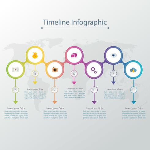 Tidslinje infographics designmall med 3D papper etikett, integrerade cirklar bakgrund. Tomt utrymme för innehåll, företag, infografisk, diagram, flödesschema, diagram, tidslinje eller stegprocess