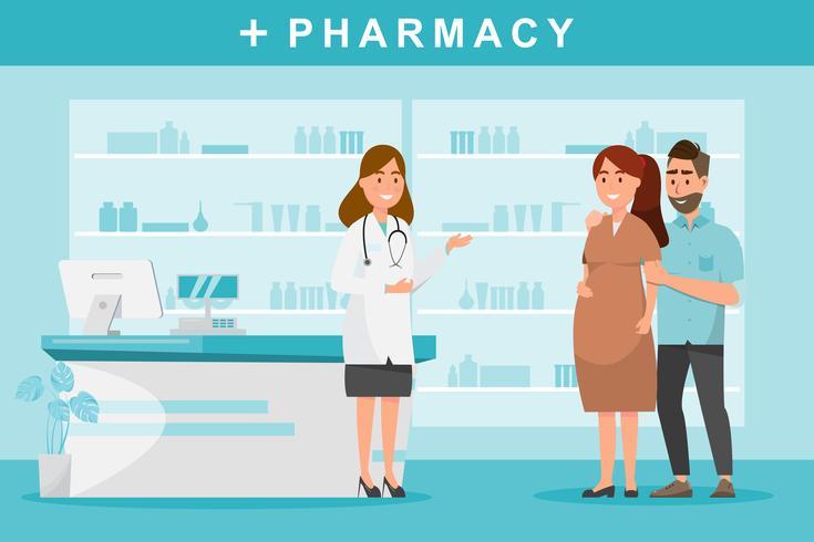 Farmacia con farmacéutico y pareja cliente en mostrador.