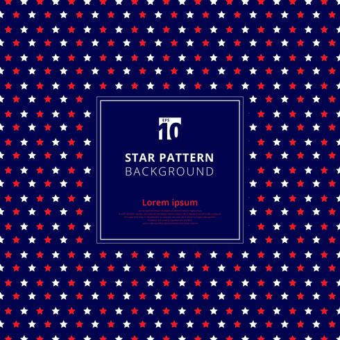 Abstract red and white star pattern on blue background, American flag.