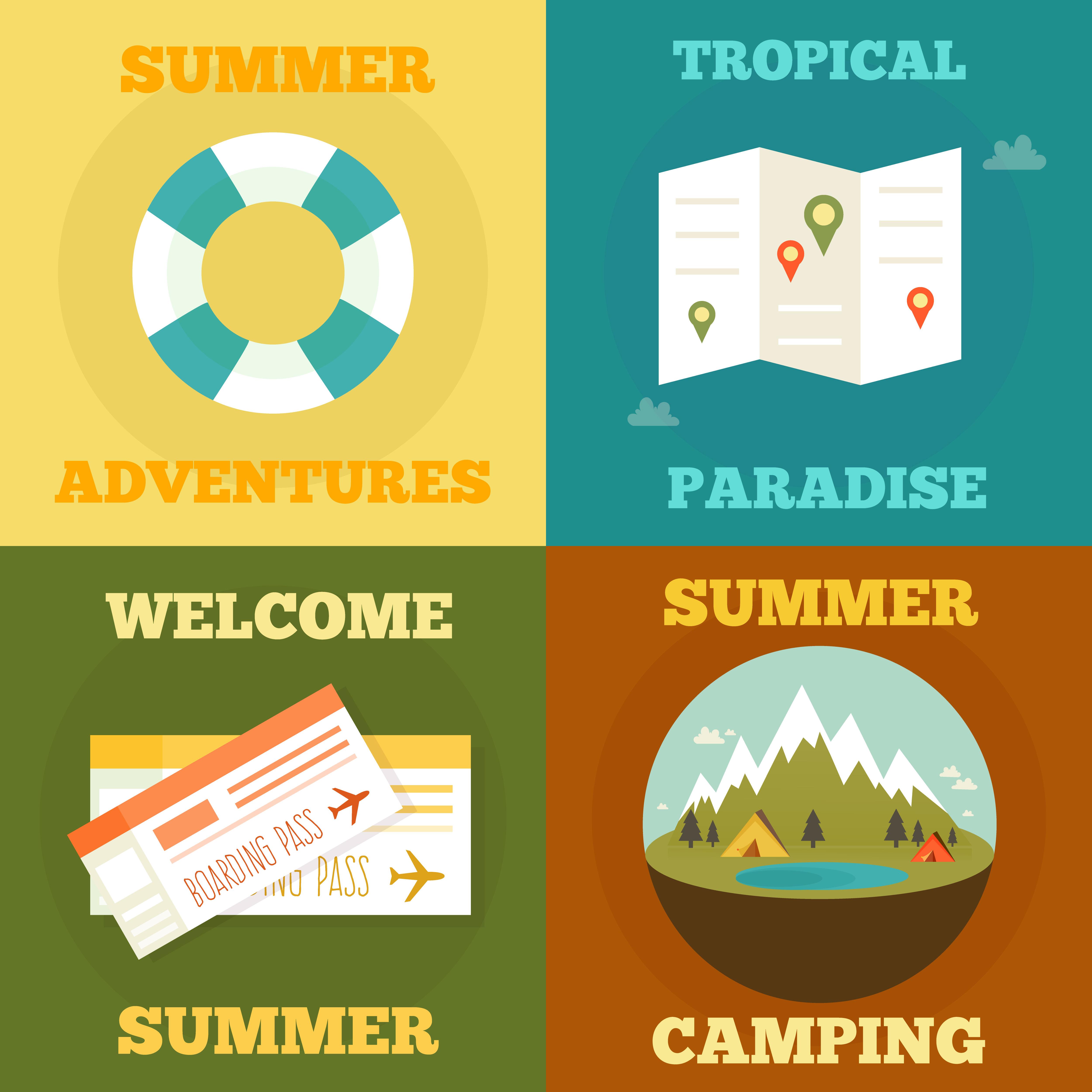 Vintage Flat Travel Logo Set: Summer Flat Concept. Summer, Holiday, Vacation Poster Set