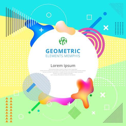 Los elementos geométricos abstractos de Memphis están de moda. Cartel de diseño moderno, portada, tarjeta.