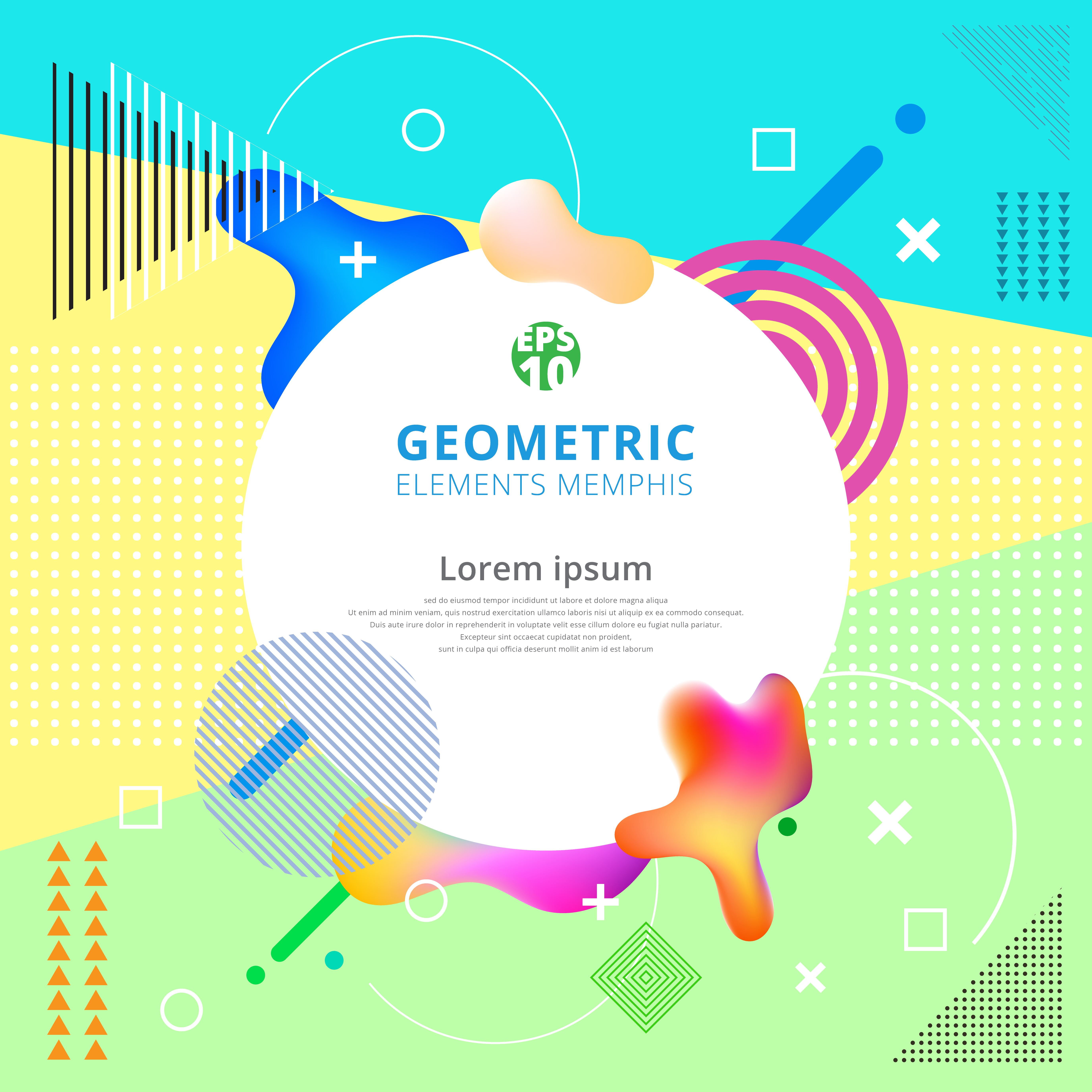 Trendy Poster Designs: Abstract Geometric Elements Memphis Styles Trendy. Modern