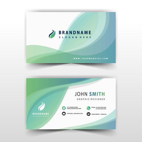 cartão corporativo ondulado abstrato verde