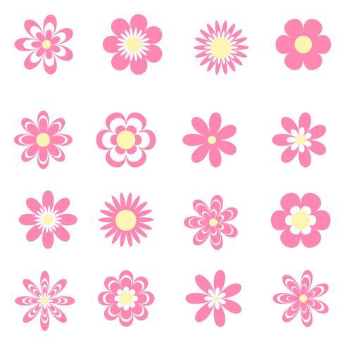 Roze bloemen pictogrammen instellen vector