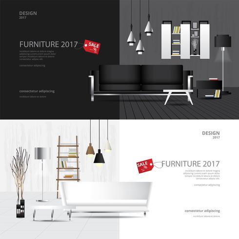 2 banner muebles venta diseño plantilla vector illustration