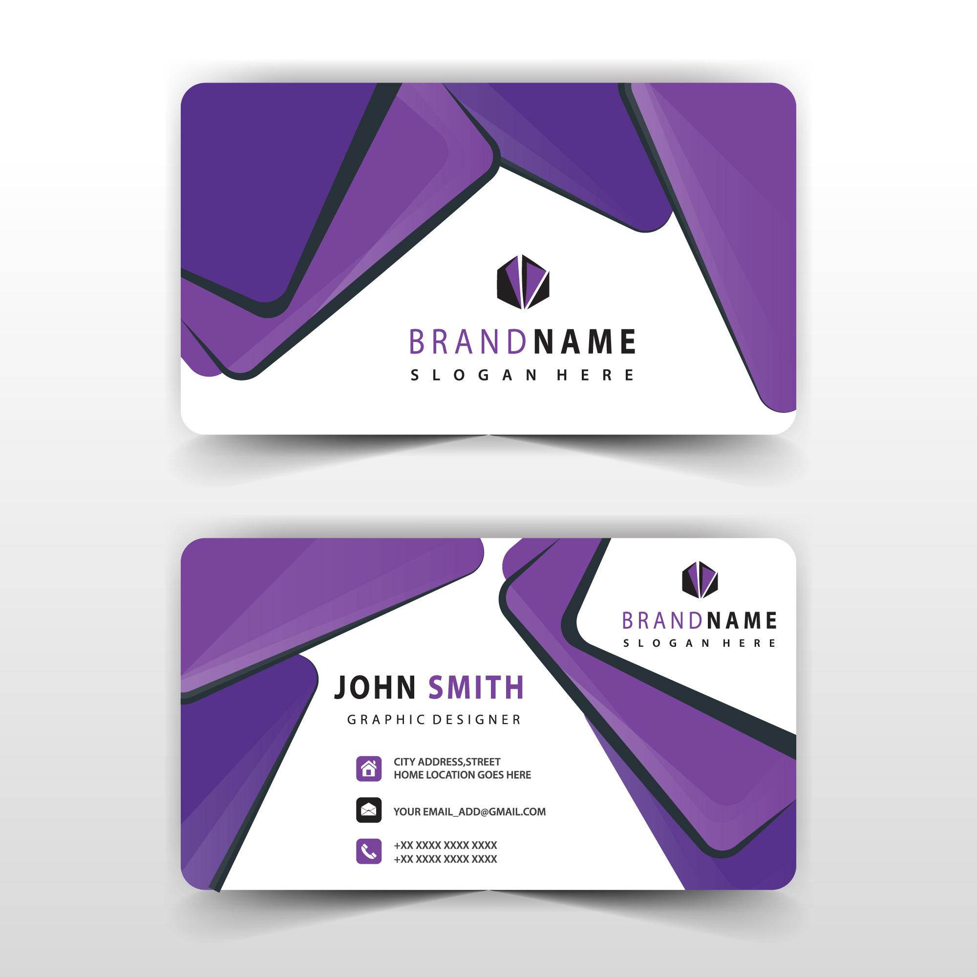 Purple Shape Visit Card Design