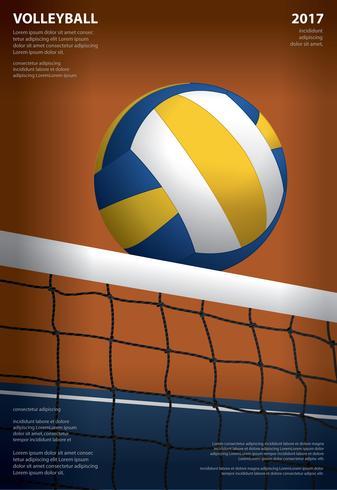 Volleybaltoernooienaffichemalplaatje Ontwerp Vectorillustratie vector