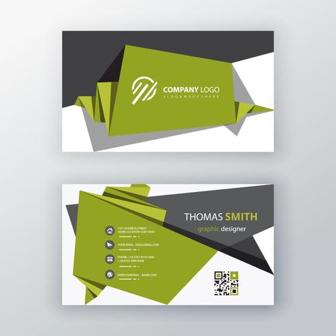 groene origami visitekaartje ontwerp